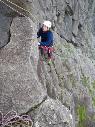 Alex approaches the crux of Cioch West